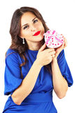 Beautiful attractive girl with heart shape gift Stock Photo