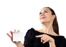 Beautiful attractive girl holding a business card Stock Photo