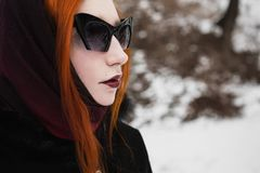Beautiful attractive girl with red hair royalty free stock photography
