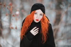 Beautiful attractive girl with red hair Stock Image