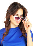 Beautiful attractive girl with sunglasses. On white background Royalty Free Stock Photos