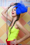 Beautiful attractive girl taking shower. Royalty Free Stock Image