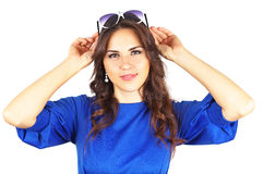 Beautiful attractive girl on white background Royalty Free Stock Photos