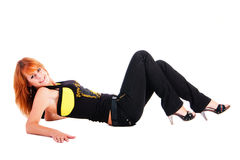 Beautiful  attractive smiling girl lying on floor Stock Photo