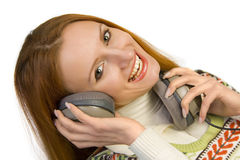 Beautiful attractive smiling woman with headphones Royalty Free Stock Photo