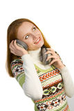 Beautiful attractive smiling woman with headphones Stock Images