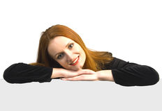 Beautiful attractive smiling woman over the sign Royalty Free Stock Image