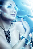 Beautiful attractive woman with accessorize. And virtual interface Stock Image