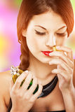 Beautiful attractive woman with luxury make-up, perfume smell, eyes closed Royalty Free Stock Photos