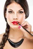 Beautiful attractive woman with luxury make-up and red lipstick Royalty Free Stock Photo