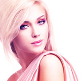 Beautiful attractive woman with pink silk. Stock Image