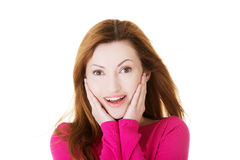 Beautiful attractive woman smiling. stock photo
