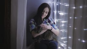 Beautiful Attractive Woman Stroking a Cat Sitting On Windowsill Decorated With Garlands stock video footage