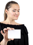 Beautiful attractive women holding a business card Stock Images