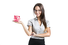 Woman holding a piggy bank Stock Photography