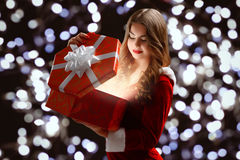 beautiful, attractive, young girl in a red suit Snow Maiden, smi royalty free stock photos