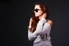 Beautiful attractive young girl in sunglasses Royalty Free Stock Image