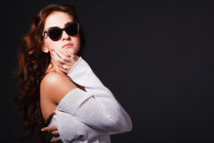 Beautiful attractive young girl in sunglasses Stock Photo
