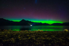 Beautiful Aurora Australis and milky way over Lake Wakatipu, Kinloch, New Zealand South Island stock photography