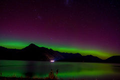 Beautiful Aurora Australis and milky way over Lake Wakatipu, Kinloch, New Zealand South Island Stock Image
