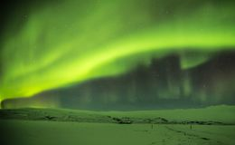 Beautiful aurora borealis in Iceland, shot in early winter perio Royalty Free Stock Photo