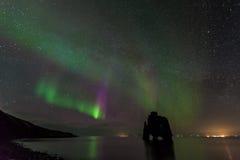 Beautiful aurora borealis, northern light at hvitserkur, Iceland Stock Images