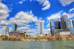 Cityscapes. Beautiful Austin downtown skyline from the shores of Lady Bird Lake cityscapes stock images