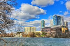 Cityscapes. Beautiful Austin downtown skyline from the shores of Lady Bird Lake cityscapes stock image