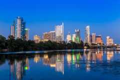 Beautiful Austin skyline reflection at twilight Stock Photos