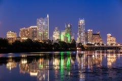 Beautiful Austin skyline reflection at twilight Stock Images