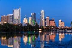 Beautiful Austin skyline reflection at twilight Stock Image