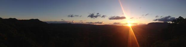 Beautiful Australian sunset landscape. Panorama of beautiful Australian sunset with silhouetted landscape Royalty Free Stock Photography