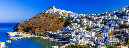 Beautiful authentic Greek islands - Astypalea, Dodecanese. Panoramic view of Astypalea,Dodecanese,Greece stock image