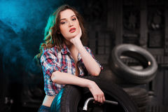 Beautiful auto mechanic. Royalty Free Stock Photo