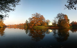 Beautiful Autumn – lake with temple on an island. Park Karlsaue in Kassel, Germany Stock Photography