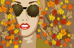 Beautiful autumn. Beautiful autumn girl wearing spectacles and leaves Royalty Free Stock Images