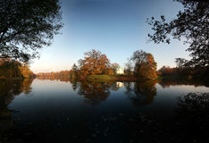 Beautiful Autumn. – lake with temple on an island, park Karlsaaue in Kassel, Germany stock photo