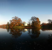 Beautiful Autumn. – lake with temple on an island, park Karlsaaue in Kassel, Germany Royalty Free Stock Photos