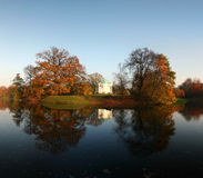 Beautiful Autumn. – lake with temple on an island, park Karlsaue in Kassel, Germany Royalty Free Stock Photos