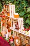 Beautiful autumn. Autumn scenery in nature. Apples and orange pumpkins Stock Image