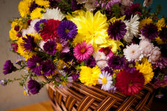 Beautiful autumn bouquet. Autumn bouquet in the basket Stock Photo