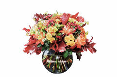 Beautiful autumn bouquet in a glass vase Stock Photo