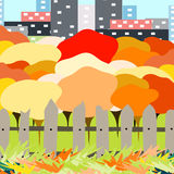 Beautiful autumn city park on a background of a big city vector illustration Royalty Free Stock Images