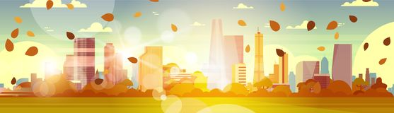 Beautiful Autumn City Skyline With Yellow Leaves Flying In Sunlight Over Skyscrapers Buildings Cityscape Concept stock illustration