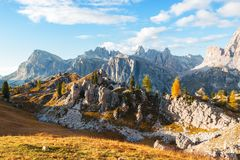 Beautiful autumn colors in Dolomites mountain, Tofana peak, Cinq Stock Photos