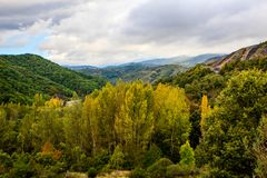 Beautiful autumn colors in the mountains. Beautiful autumn colors in the mountains and valleys along the road C623 in Castile and León Stock Image