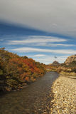 River landscape in beautiful autumn colors, Los Glaciares National Park. Hiking in the el chalten national parks in autumn time is absolutely brilliant stock image