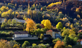 Beautiful autumn day in mountains village Royalty Free Stock Image