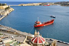Beautiful autumn day in the old harbor of  Valetta City Stock Image