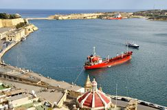 Beautiful autumn day in the old harbor of  Valetta City Royalty Free Stock Photography